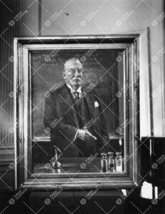 Gustaf Kompan (kansleri 1935-1945) muotokuva. Kuva otettu Kompan ja E.N.Setälän (kansleri 1926-193