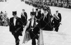 Promootio 3. kesäkuuta 1955. Korkeakoulujen rehtorit nousemassa  tuomiokirkon portaita.