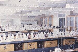 Kemian laboratorio 1950-luvun lopulla.