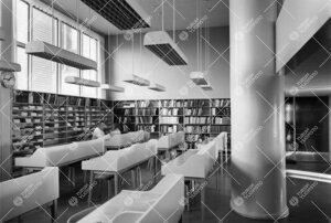Lääketieteellisen kirjaston lukusali 1950-luvulla.