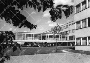 Päärakennusta ja Luonnontieteidentalo I:tä yhdistävä kahvilanivel  kuvattuna fysiikan ja kemian