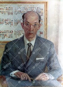 Rehtori Sampo Haahtela. Muotokuvan maalannut taiteilija Osmo  Laine vuonna 1965.