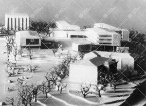 Vuoden 1951 arkkitehtikilpailun satoa. Pienoismallikuva (repro)  Ervin tällaisenaan toteutumattomas