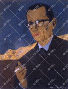 Turun yliopiston kirjallisuuden professori (1949-1954)  Lauri Viljasen muotokuva. Muotokuvan on maal