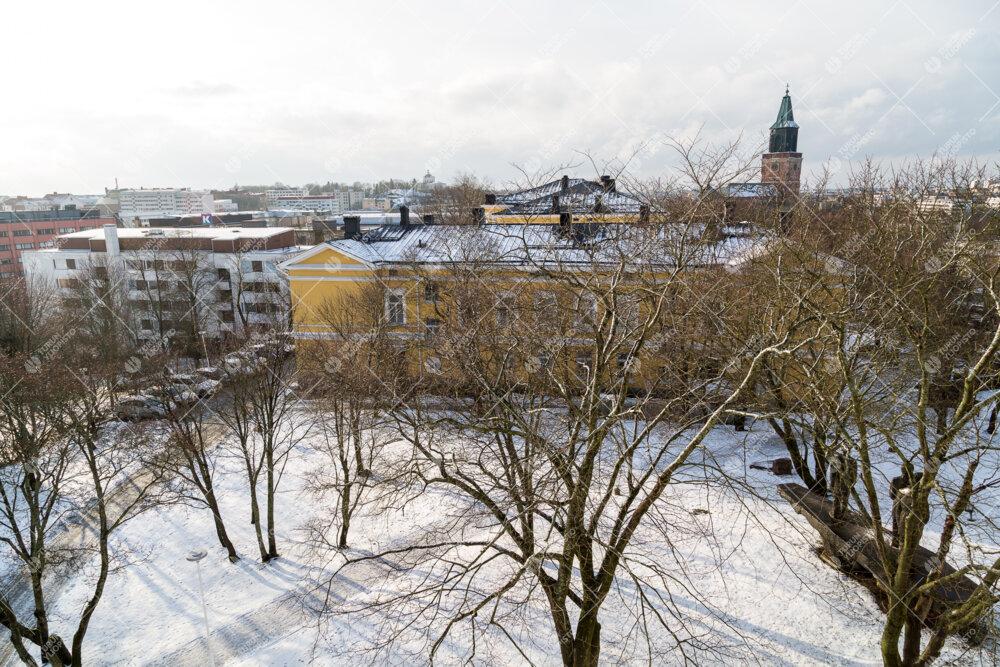 Rosetta talvella. Taustalla Turun Tuomiokirkko.