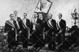Yliopiston toiminnan alkamisen 25-vuotisjuhla Vanhassa  Akatemiatalossa 12. toukokuuta 1947. Airueet