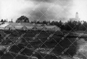 Kultarannan kasvihuoneet ja puutarhurin/talousrakennus 1920-luvun  alussa. Päärakennus oikealla.