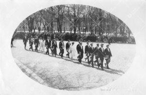 Turun Yliopiston vihkiäisjuhla ja ensimmäinen promootio 12.  toukokuuta 1927. Vihityt maisterit ku