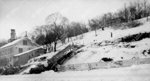 Kirjastotalon louhintatyömaa Samppalinnanmäen rinteellä 24.  tammikuuta 1948.