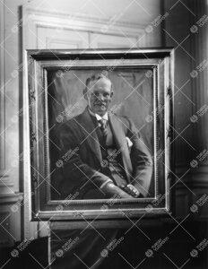 E.N.Setälän (kansleri 1926-1935) muotokuva. Kuva otettu Setälän ja Gustaf Kompan (kansleri 1935-