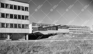 1950-luvun lopulla koillisen suunnalta kuvatut (vas.) fysiikan ja  kemian laitosrakennuksen pohjoisp