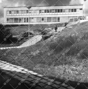 Päärakennus kuvattuna idän suunnalta yliopistonmäen juurelta;  pääportaat. 1950- ja 1960-lukuj